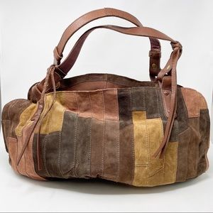 LUCKY BRAND Suede Leather Patchwork Bag Large Boho